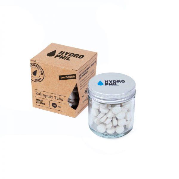 Zahnputz-Tabs mit Fluorid und Salbeigeschmack im plastikfreien Glastiegel von Hydrophil im cosa Kosmetik Onlineshop