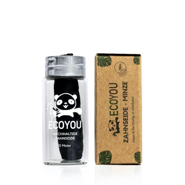 Zahnseide mit Aktivkohle in der plastikfreien Glasverpackung von ECOYOU