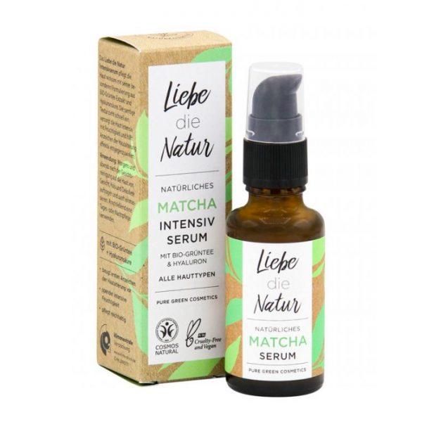 Das Intensivserum Matcha von Liebe die Natur pflegt deine Haut mit grünem Tee und Hyaluronsäure - für alle Hauttypen geeignet