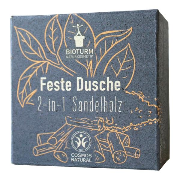 Festes Waschstück als Alternative für Duschgel und Shampoo mit Sandelholzduft von Bioturm im cosa Kosmetik Onlineshop