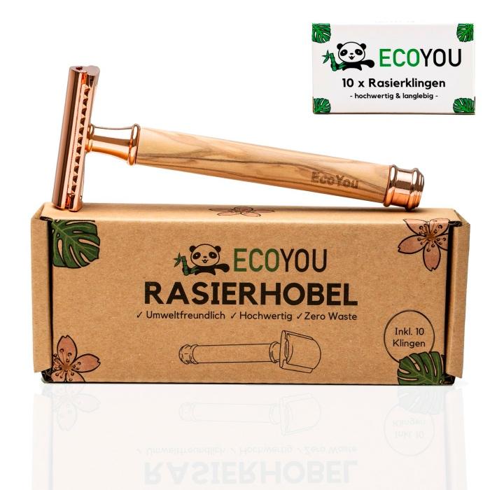 Der nachhaltige Rasierhobel in Rose mit 10 Ersatzklingen von ECOYOU