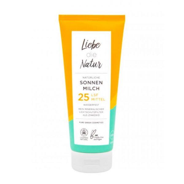 Wasserfeste Sonnenmilch mit Lichtschutzfaktor 25 von Liebe die Natur im cosa Kosmetik Onlineshop